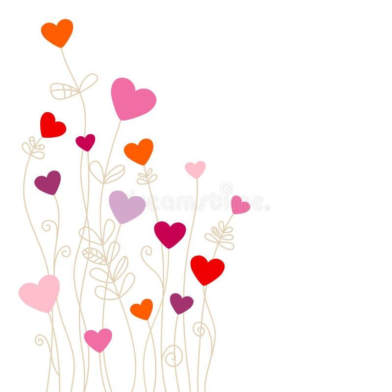 Las flores de la esquina de los corazones pican púrpura roja anaranjada stock de ilustración