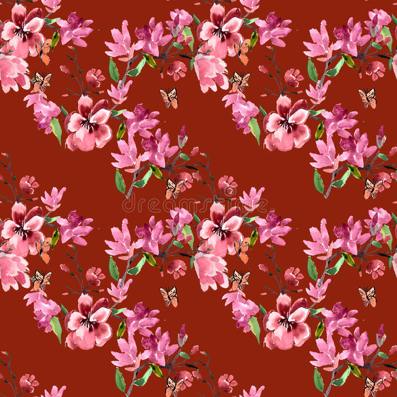 Las flores de la magnolia del modelo pintaron la acuarela ilustración del vector