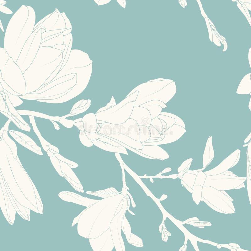 Las flores de la magnolia salen de la rama de árbol Textura inconsútil del modelo Blanco en fondo azul del trullo Dibujo de esque stock de ilustración