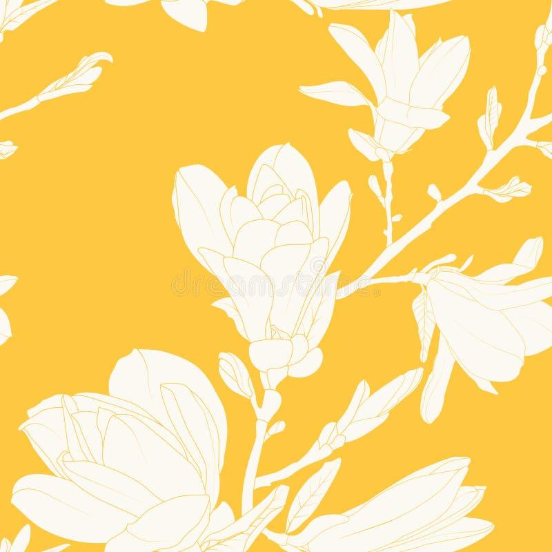 Las flores de la magnolia salen de la rama de árbol Textura inconsútil del modelo Blanco en fondo azul del trullo Dibujo de esque libre illustration