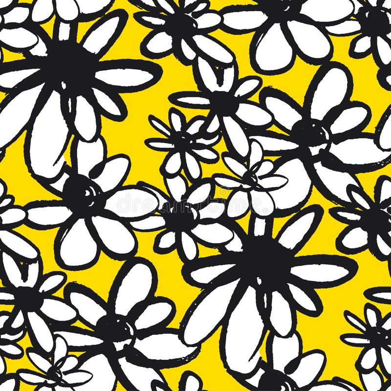 Las flores de la margarita colorean el modelo inconsútil ilustración del vector