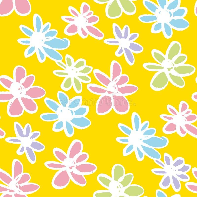 Las flores de la margarita dan a color exhausto el modelo inconsútil stock de ilustración