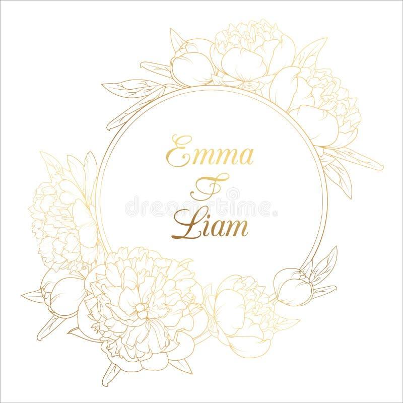 Las flores de la peonía de Rose enrruellan de oro brillante brillante ilustración del vector