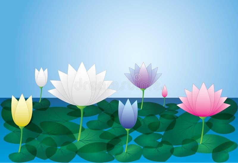Las flores de loto coloridas con la hoja en la charca riegan con el fondo azul ilustración del vector