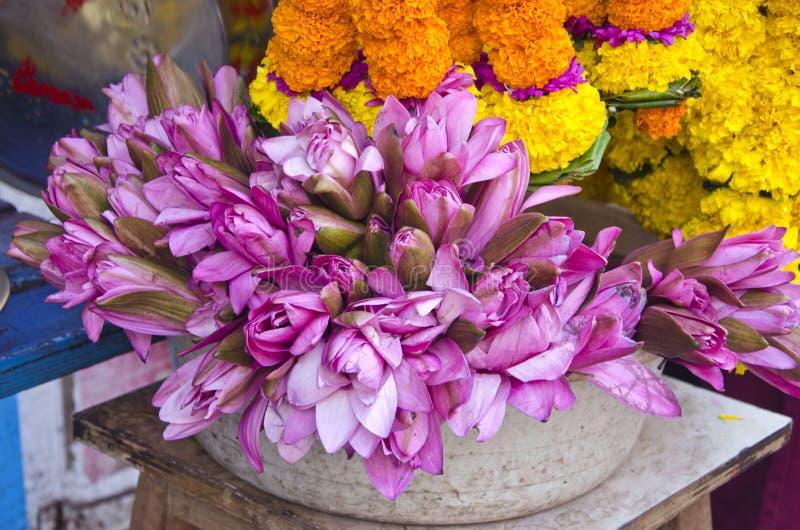 Las flores de loto sagrado en Asia comercializan cerca del templo, la India imagen de archivo libre de regalías