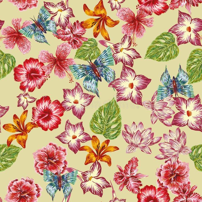 Las flores de mariposa dibujadas mano salen modelo del fondo inconsútil stock de ilustración