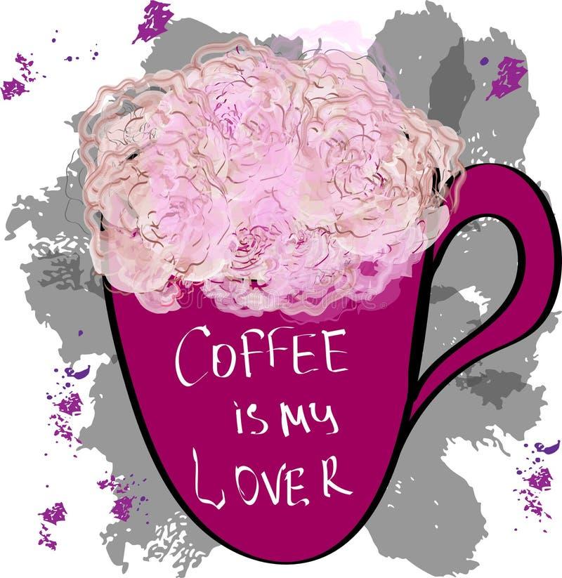 Las flores de Rose en una taza con café de la inscripción son mi amante, vecto stock de ilustración