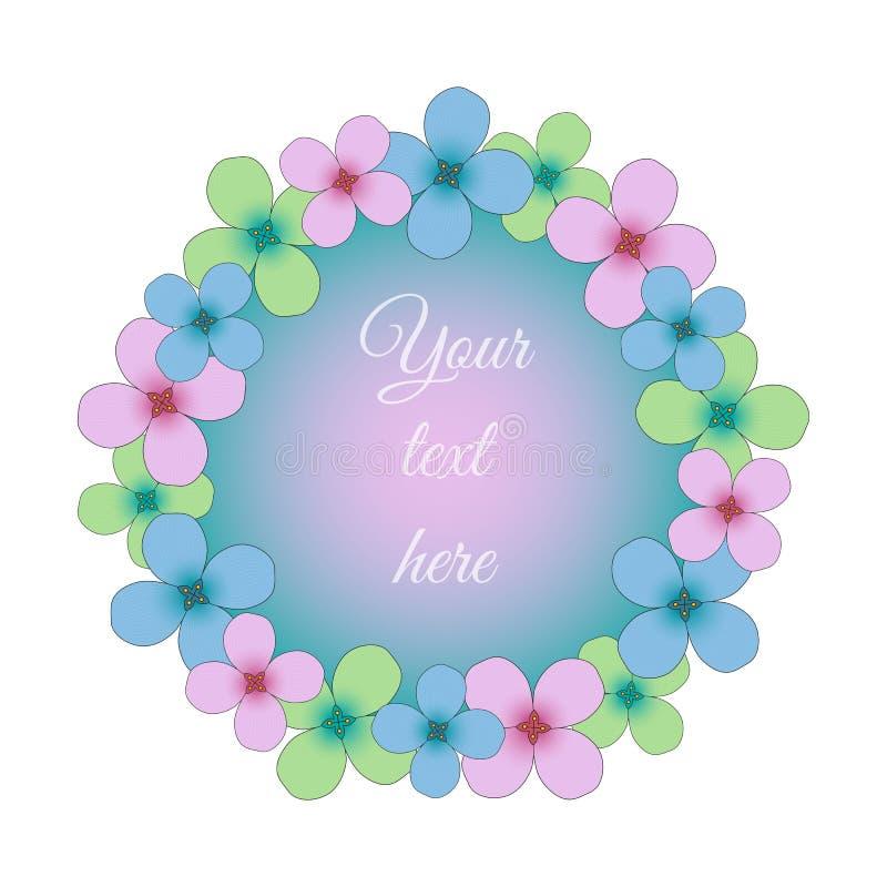 Las flores del rosa de la primavera, azules y verdes circundan el marco para su texto, stock de ilustración