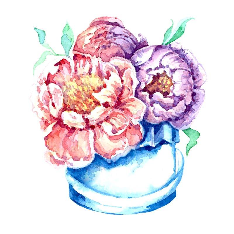 Las flores encajonan con la acuarela stock de ilustración