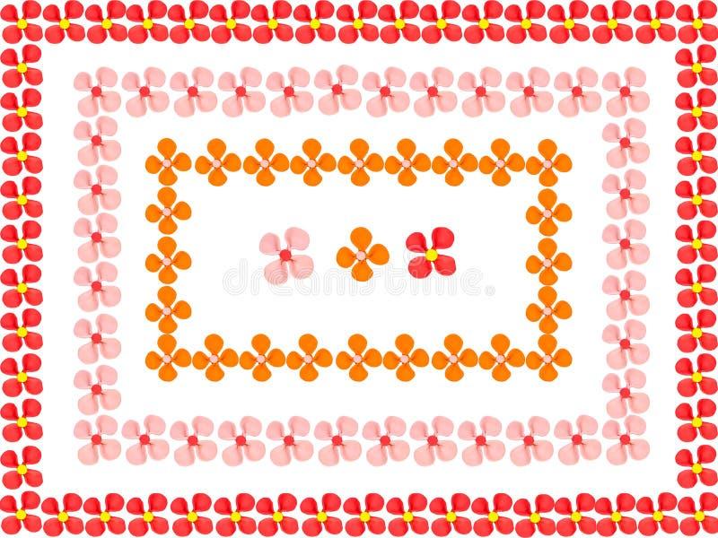 Las flores enmarcan hecho del plasticine del juego de niños ilustración del vector