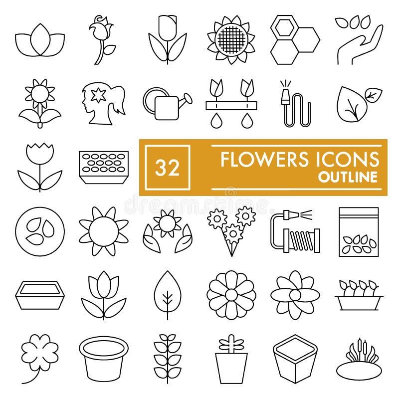 Las flores enrarecen la línea sistema del icono, símbolos que cultivan un huerto colección, bosquejos del vector, ejemplos del lo stock de ilustración