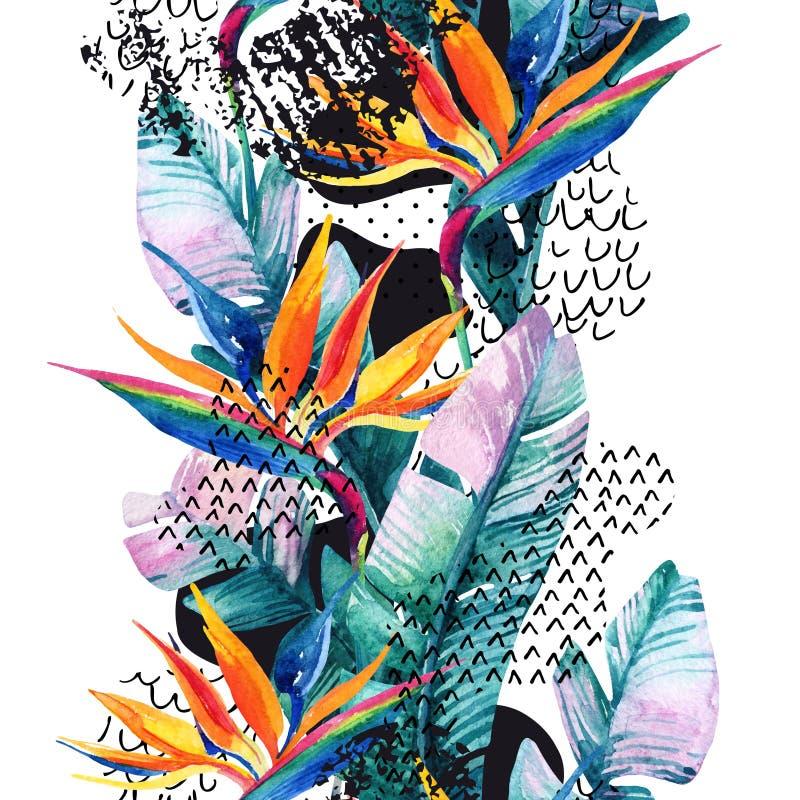 Las flores exóticas, hojas, forma lisa de la curva llenaron del garabato, mínimo, textura del grunge abstraiga el fondo ilustración del vector