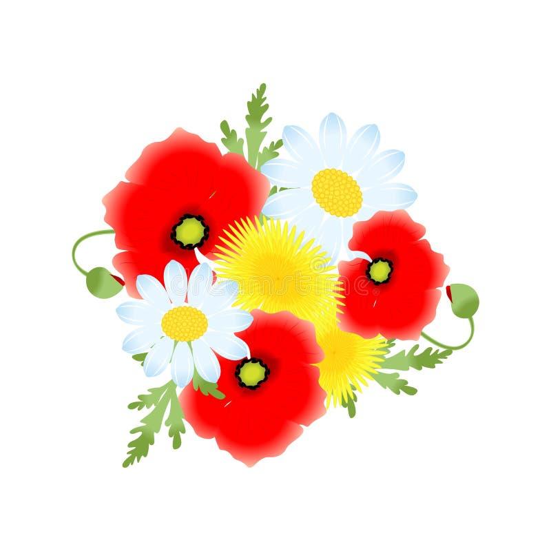 Las flores fijadas stock de ilustración