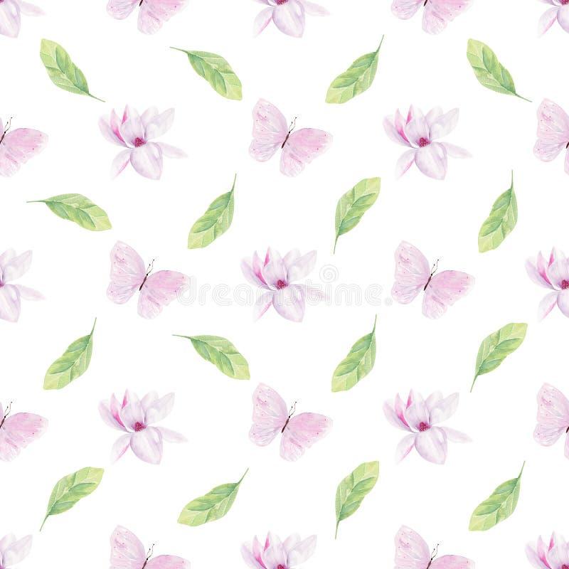 Las flores florecientes de la magnolia dan a acuarela exhausta el modelo inconsútil stock de ilustración