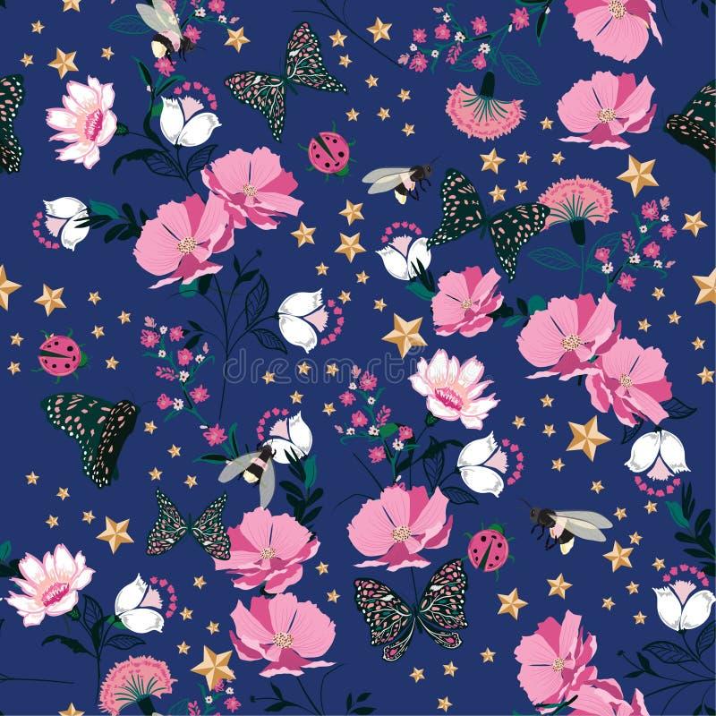 Las flores florecientes del rosa retro colorido en la noche con el insecto, sean stock de ilustración
