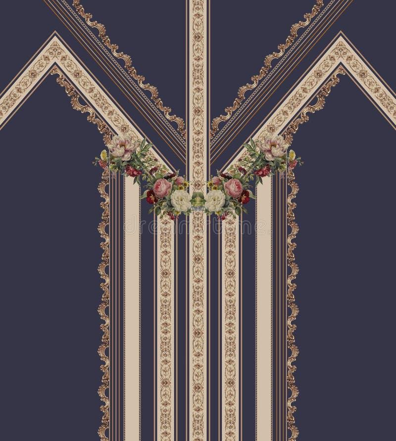 Las flores geométricas diseñan líneas azules forman textura hermosa de la tela del ejemplo del estilo ilustración del vector