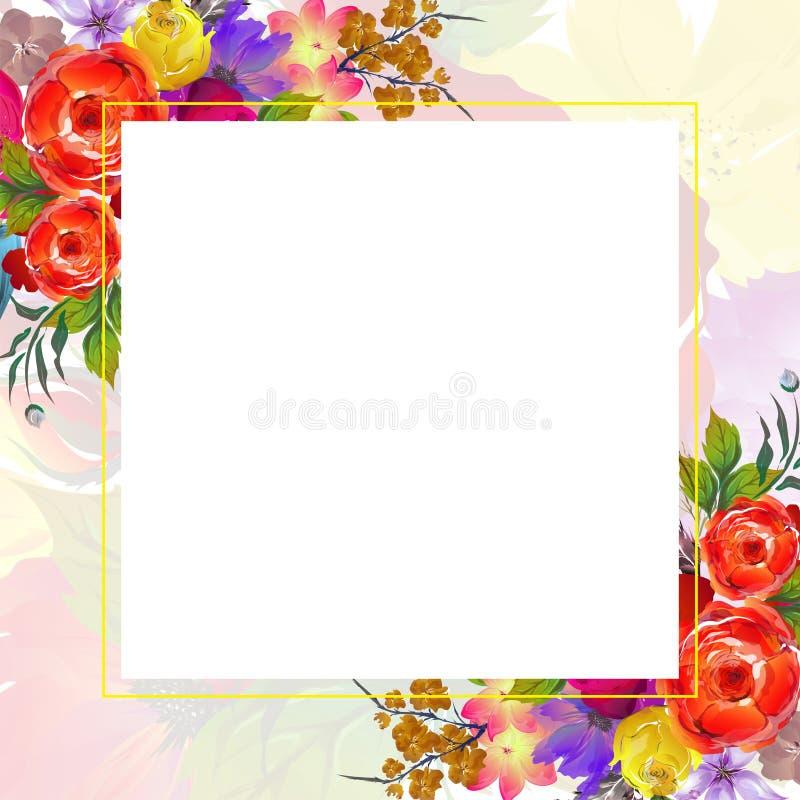 Las flores hermosas de la acuarela adornaron el fondo Puede ser a usada libre illustration