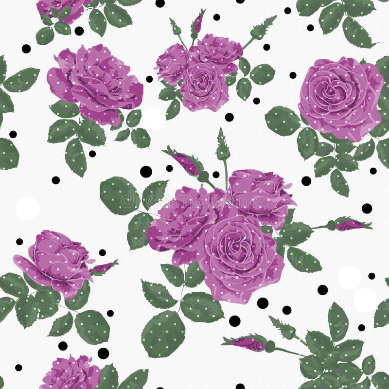 Las Flores Inconsútiles Del Modelo Púrpura De Las Rosas Con Los ...