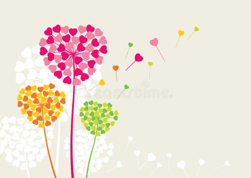 Las flores les gusta un corazón del amor stock de ilustración