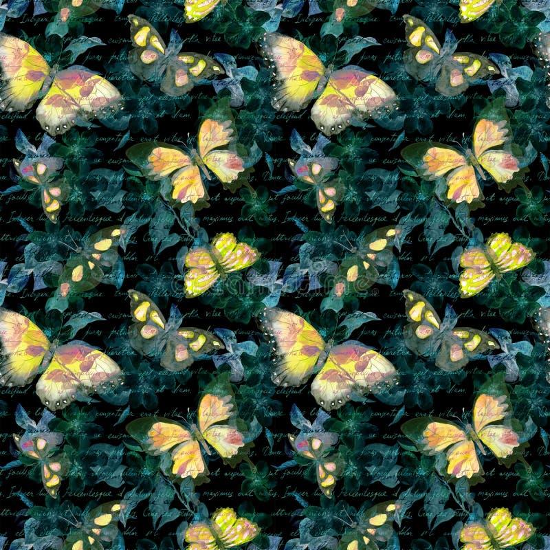 Las flores, mariposas que brillan intensamente, dan la nota del texto escrito en el fondo negro watercolor Modelo inconsútil imágenes de archivo libres de regalías