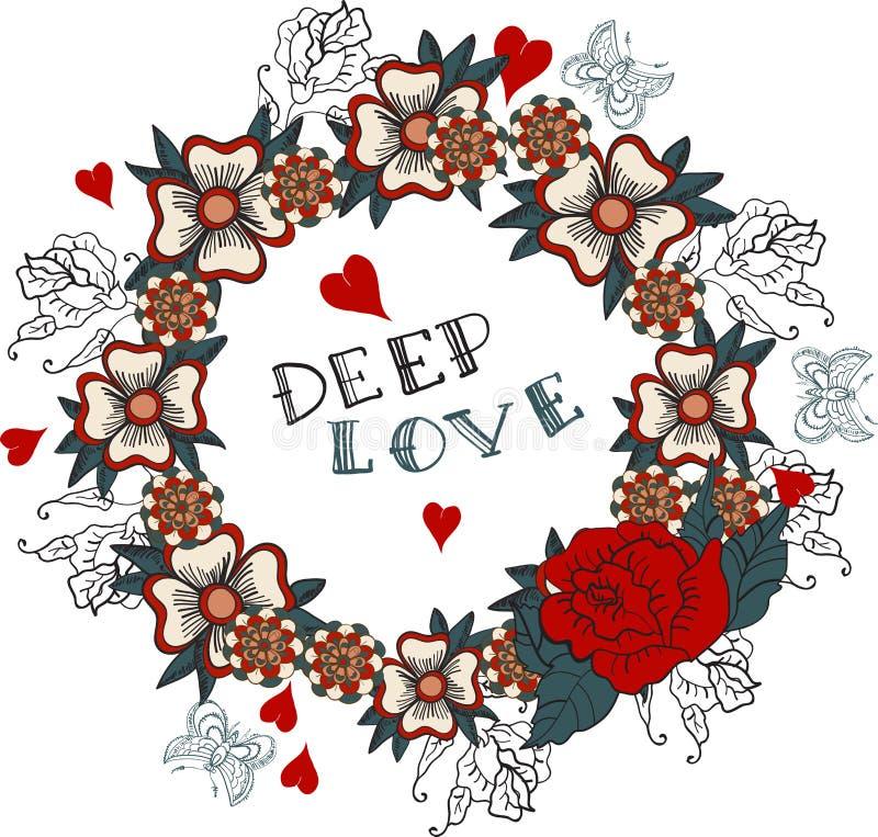 Las flores para la tarjeta del día de San Valentín diseñan, estilo del tatuaje de la escuela vieja ilustración del vector