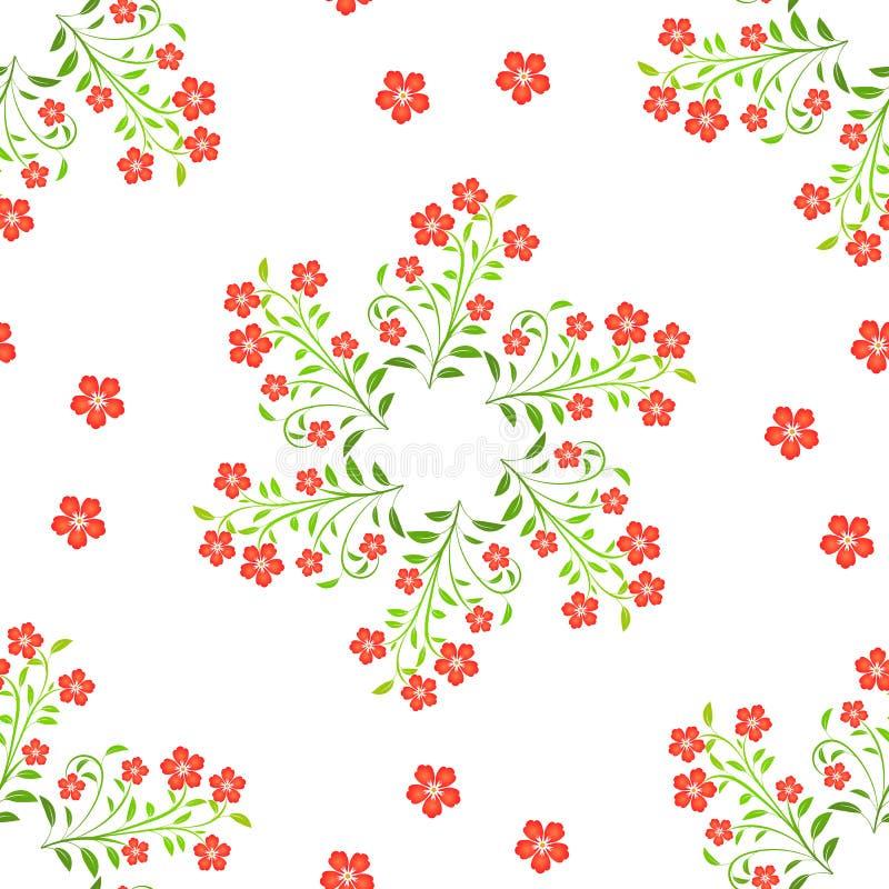 Las flores rojas del remolino con verde se van en el fondo blanco imagenes de archivo
