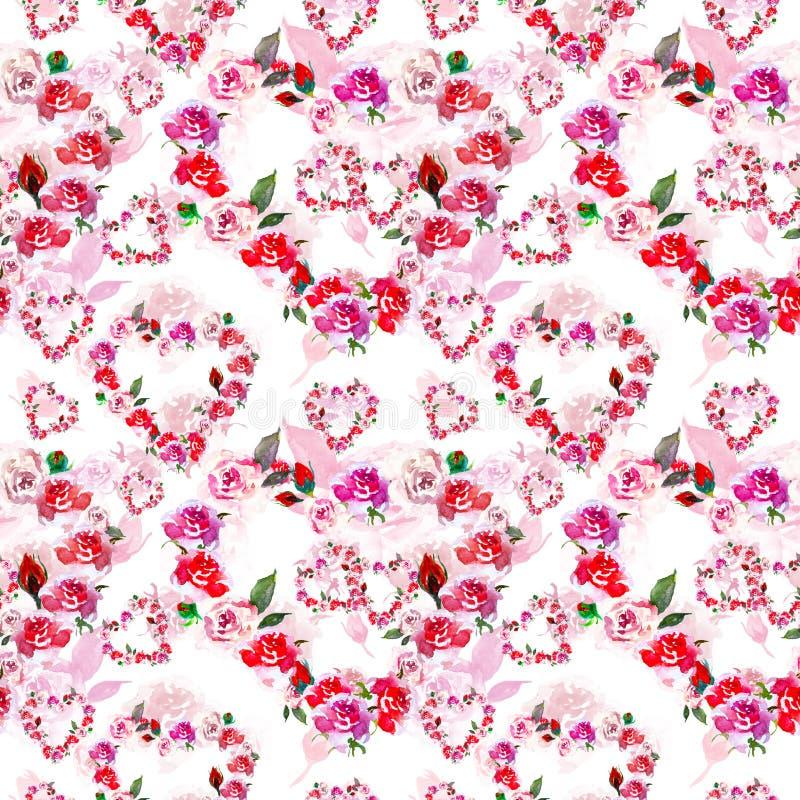 Las flores rosadas de los corazones del vintage enrruellan con el modelo inconsútil de las rosas de la acuarela en el fondo blanc stock de ilustración
