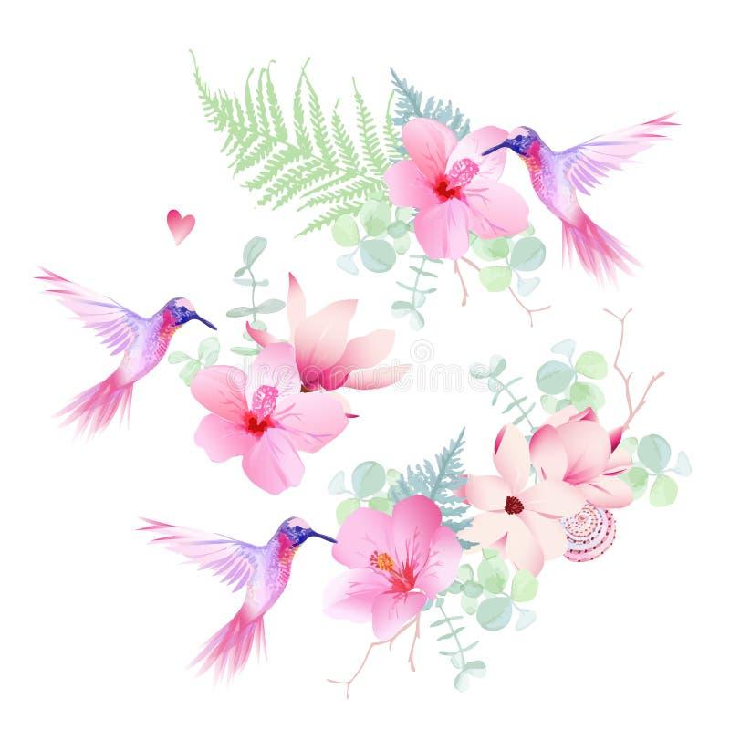 Las flores tropicales delicadas con vector de los colibríes del vuelo diseñan libre illustration
