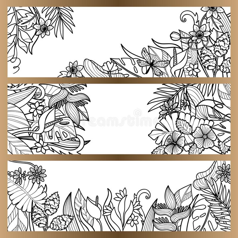 Las flores tropicales imitan encima de sistema de la bandera ilustración del vector