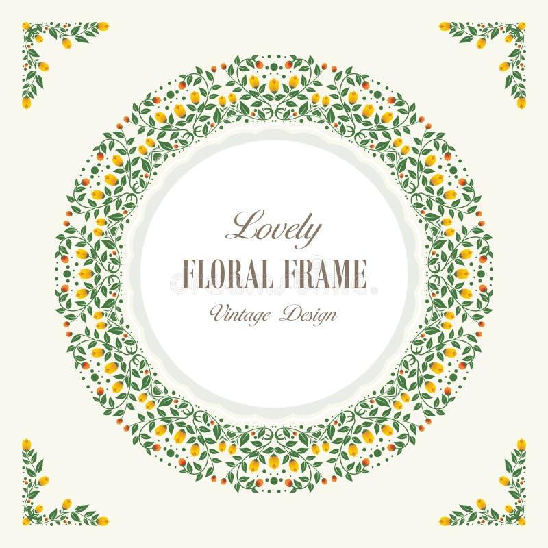 Las flores y el capítulo floral con el vintage precioso diseñan libre illustration