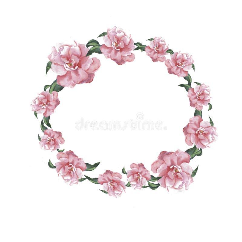 Las flores y las hojas rosadas de la magnolia enrruellan Acuarela dibujada mano libre illustration