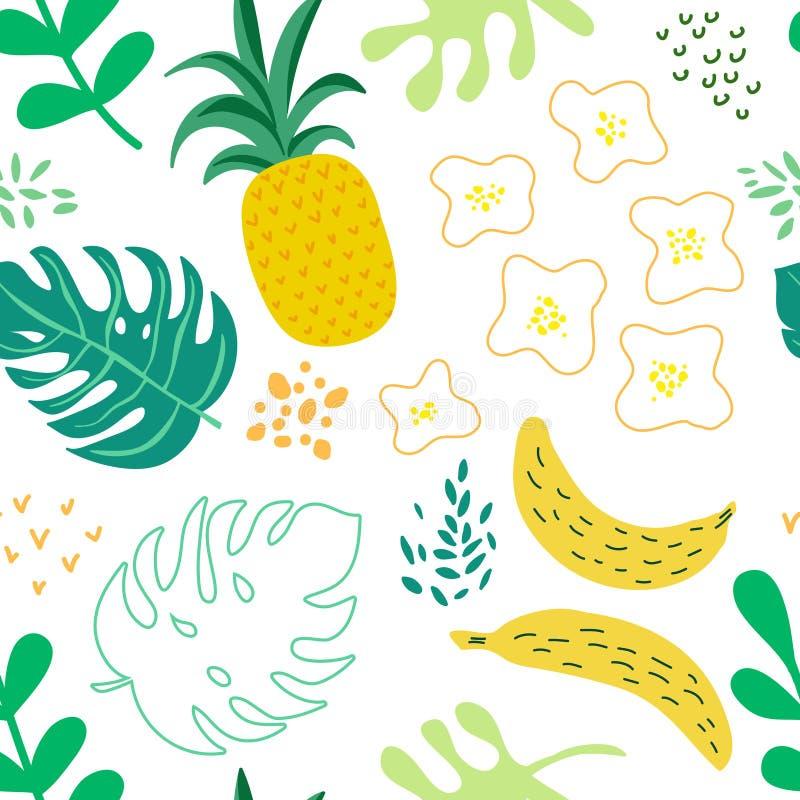 Las flores y las hojas tropicales modelan, cubierta exótica del verano, fondo retro inconsútil de las piñas libre illustration