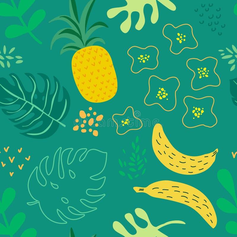 Las flores y las hojas tropicales modelan, cubierta ex?tica del verano, fondo retro incons?til de las pi?as ilustración del vector