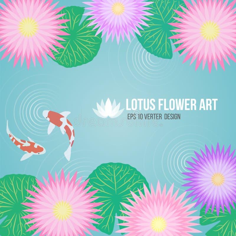 Las flores y la carpa púrpuras rosadas de loto pescan en fondo del agua del lavabo stock de ilustración