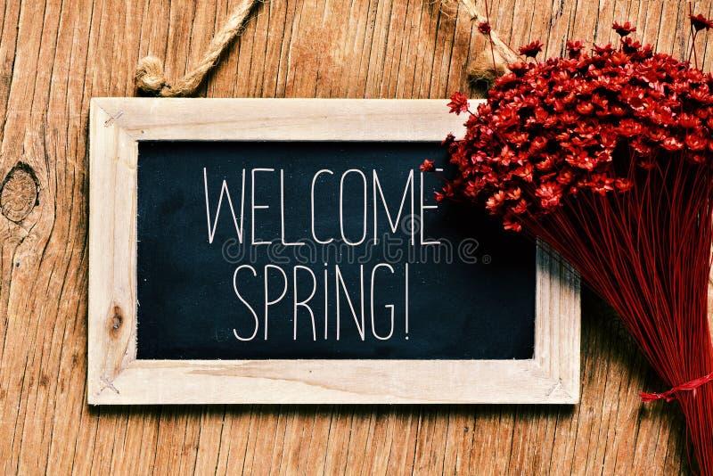 Las flores y la pizarra con el texto acogen con satisfacción la primavera imagen de archivo