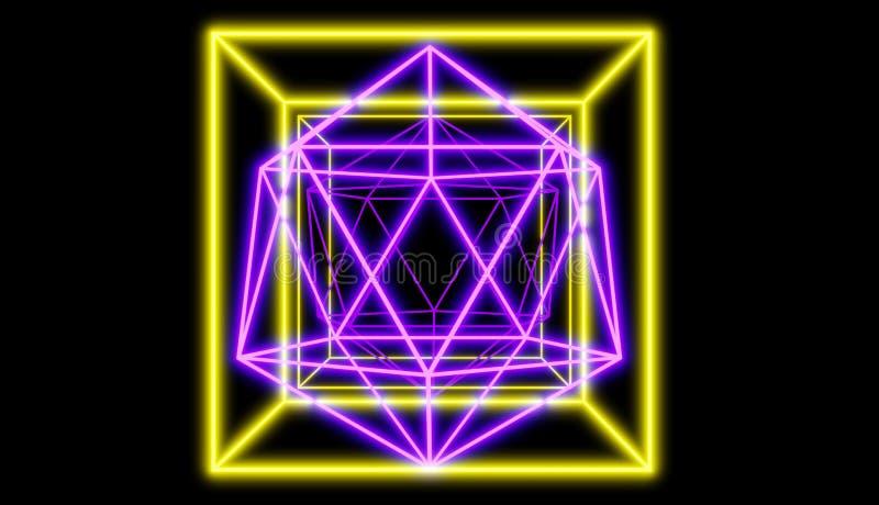 Las formas de neón que brillan intensamente delante del fondo reflexivo, estilo cibernético retro rinden libre illustration