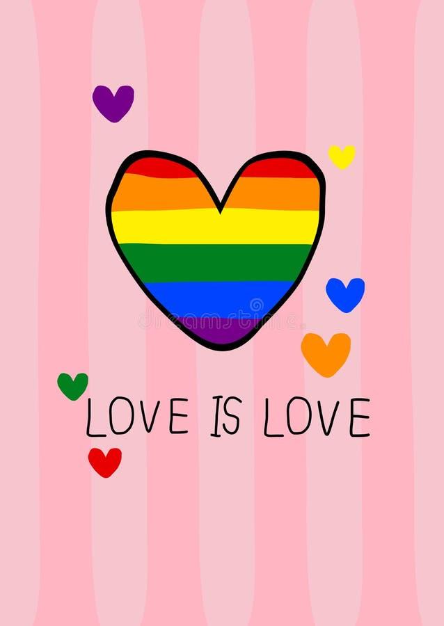 Las formas del corazón del color de la bandera del orgullo con amor son concepto del amor ilustrar stock de ilustración