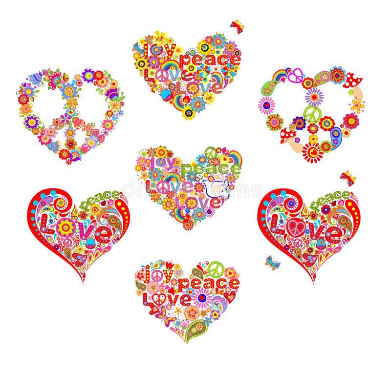 Las formas del corazón fijadas para el hippie de la camiseta diseñan con las flores, paloma, las setas, símbolo de paz del hippie libre illustration