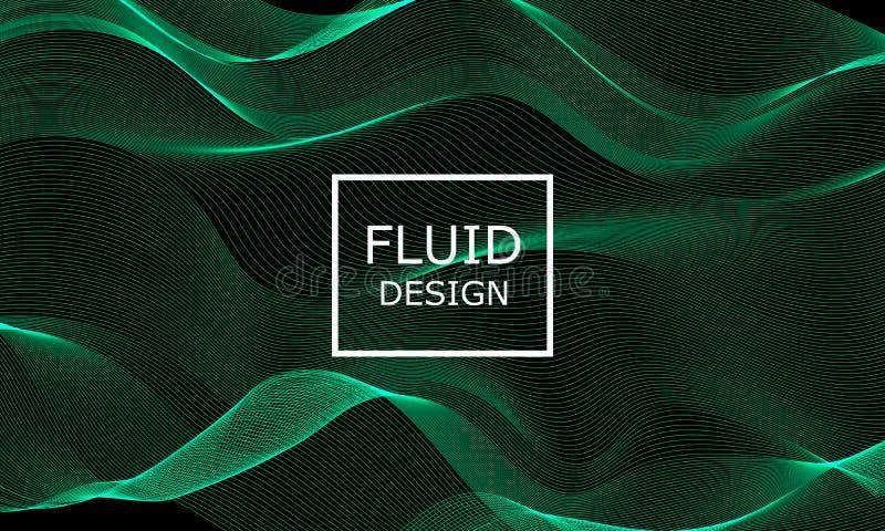 Las formas del flujo diseñan Luz verde del extracto 3d foto de archivo libre de regalías