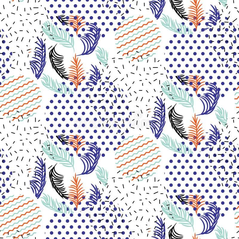 Las formas geométricas abstractas punteadas y las hojas rayadas circundan el modelo del vector stock de ilustración