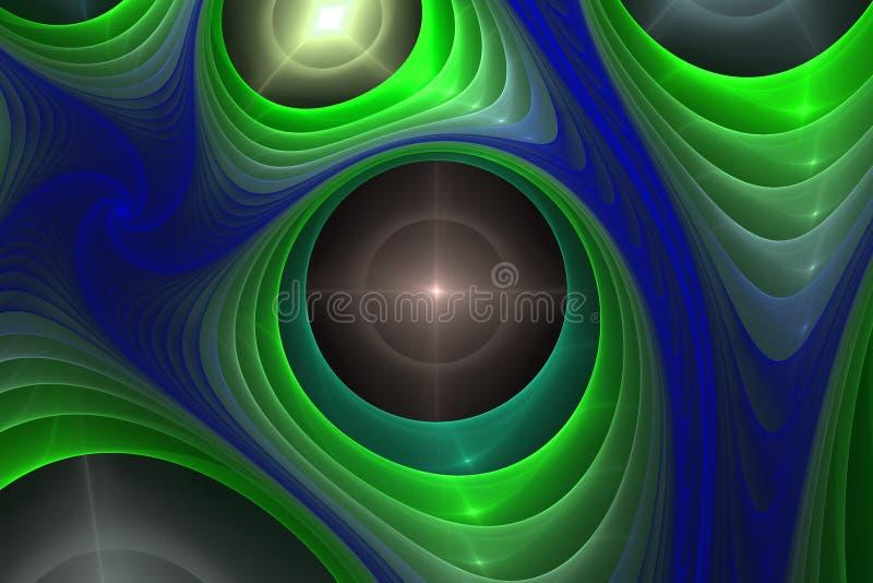 Las formas geométricas negras y coloridas del papel pintado hermoso del fractal ilustran la galaxia mágica o la gala de la explos ilustración del vector