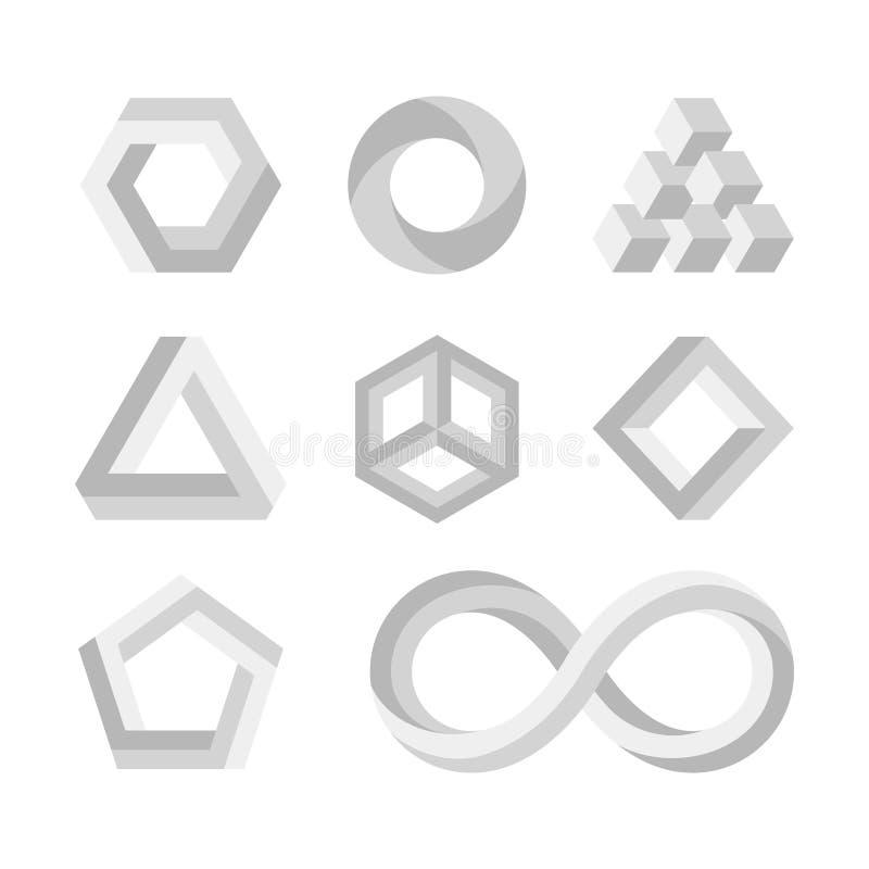 Las formas imposibles de la paradoja, 3d torcieron los objetos, símbolos de la matemáticas del vector ilustración del vector