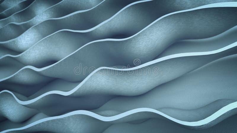 Las formas onduladas grises 3D del extracto rinden el ejemplo stock de ilustración
