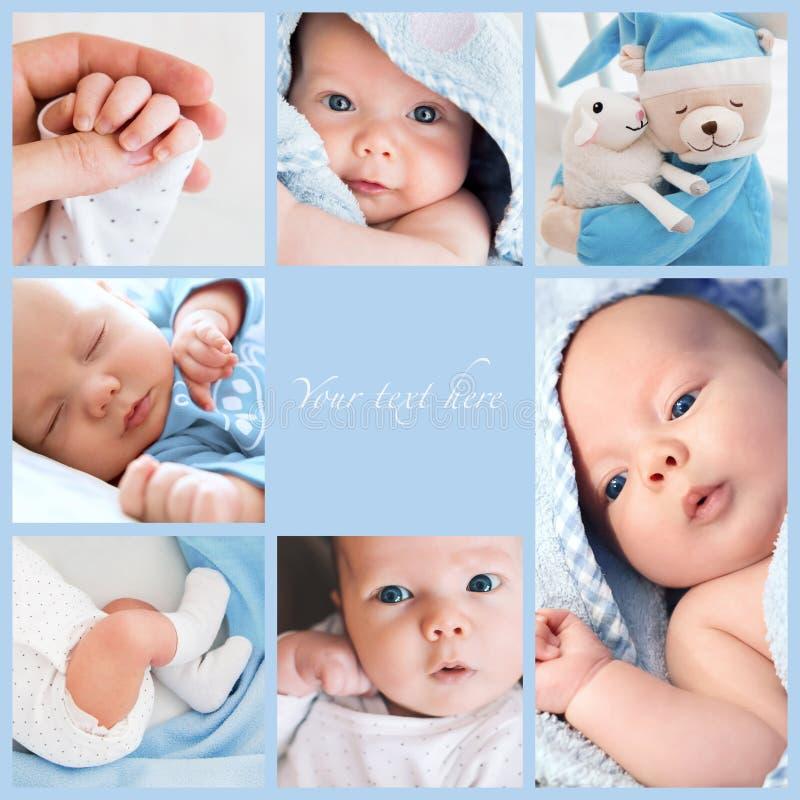 Las fotos del bebé recién nacido del collage foto de archivo