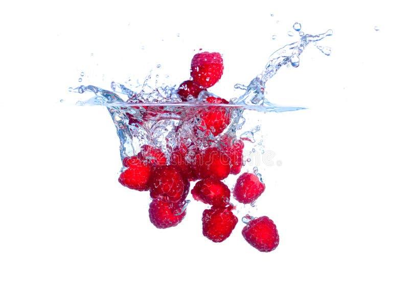 Las frambuesas rojas caen bajo el agua con un chapoteo fotografía de archivo