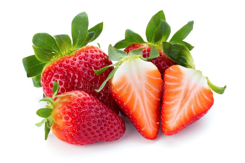 Las fresas frescas se cierran para arriba en el fondo blanco fotografía de archivo