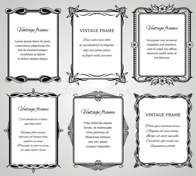 Las fronteras clásicas retras y la foto vieja caligráfica de la boda enmarca la colección del vector libre illustration