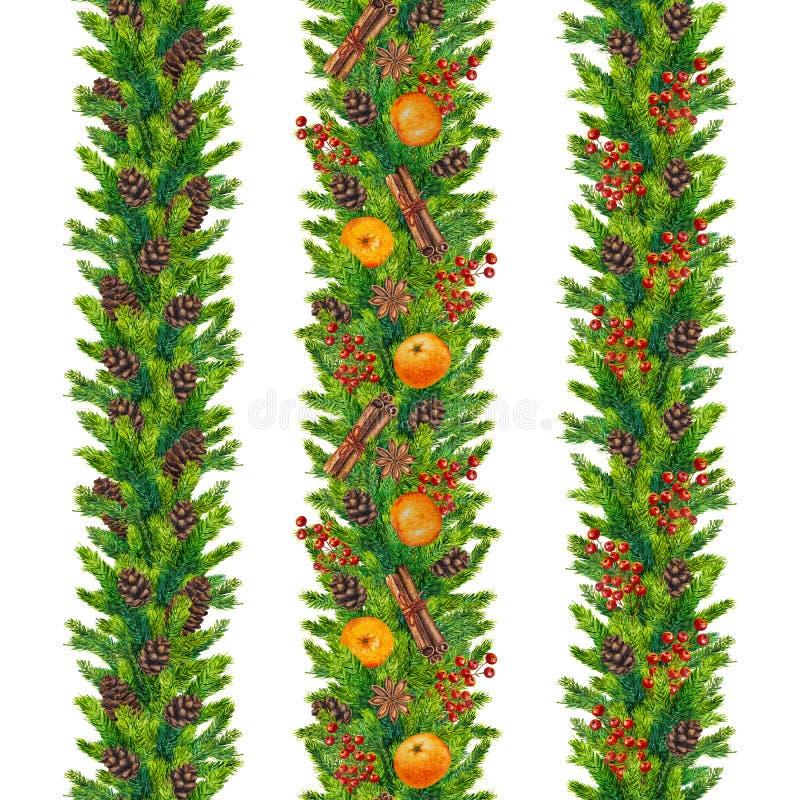Las fronteras inconsútiles de la Navidad de la acuarela del abeto ramifican, los conos, baya roja stock de ilustración