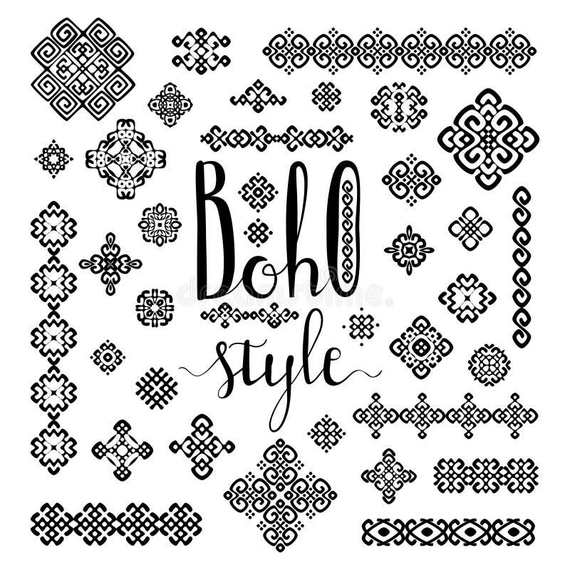 Las fronteras y las muestras étnicas de la decoración con el estilo de Boho dan las letras exhaustas en blanco stock de ilustración