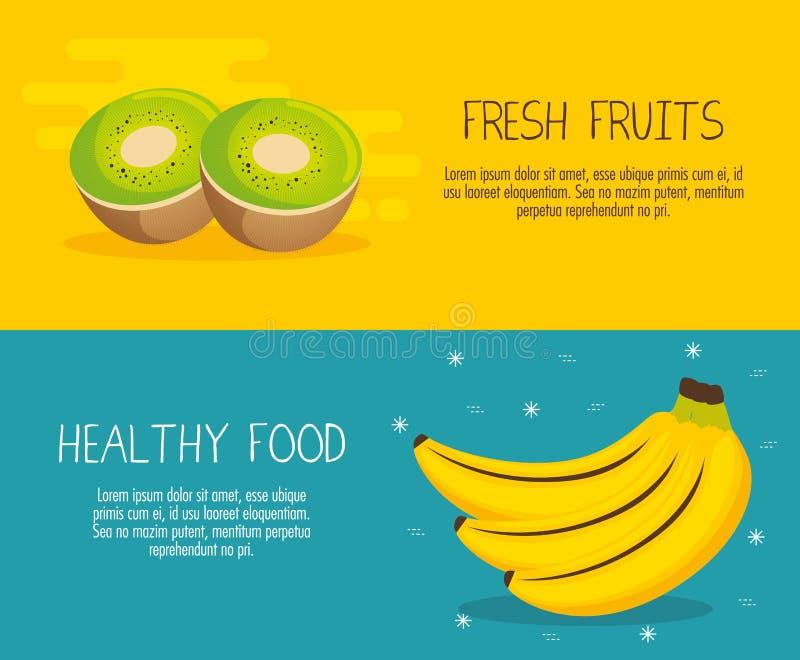 Las frutas agrupan con hechos de la nutrición stock de ilustración